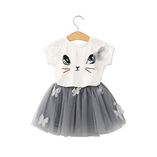 Rock Tutu Kinder Mädchen Katze Muster Hemd Oben Schmetterling Einstellen Kleidung