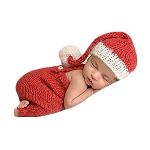 Coberllus Newborn Monthly Baby Photo Props Christmas Hat Pants for Boy Girls Photography Shoot