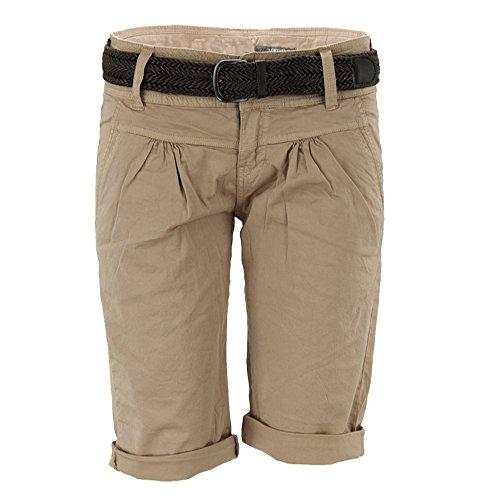 Fresh Made Fresh Made Basic Bermuda-Shorts im Chino Stil mit Gürtel Light-Brown L
