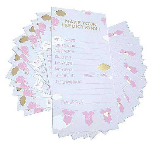 """""""Predictions Cards"""" voor Baby Shower (Meisje, 20 kaarten)"""