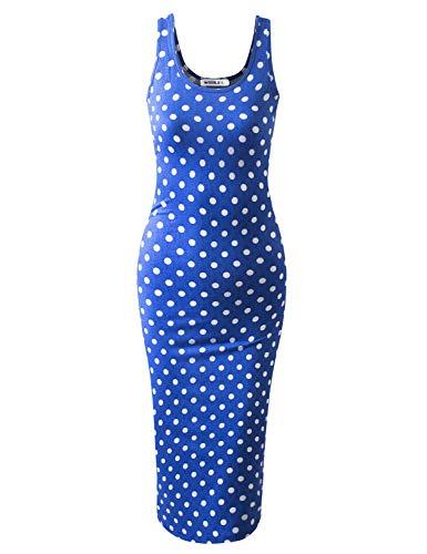 JJ Perfection Women's Scoop Neck Slim Fit Sleeveless Stretchy Tank Midi Dress