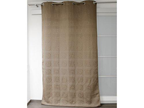 Vorhang Baumwoll-Pikee ABC taupe, Ösen in Zierbuchstaben