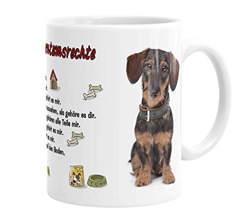 Merchandise for Fans Becher aus Keramik - 330 ml Motiv: Dackel Rauhhaardackel sitzend mit Spruch Eigentumsrechte (46)