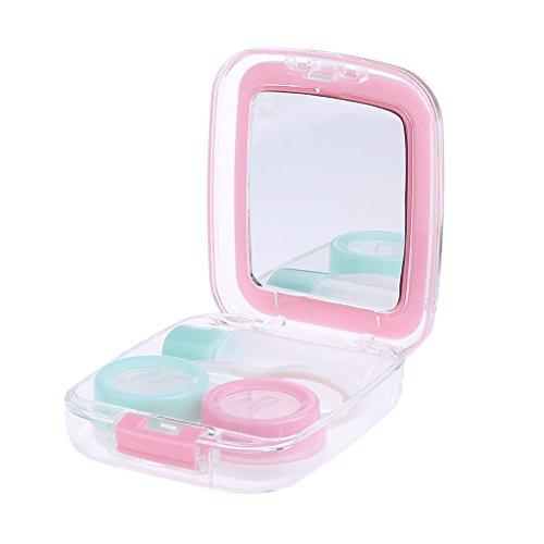 Custodia Caso Contenitore Applicatore Holder Kit per Lenti A Contatto con Specchio - Rosa, Taglia unica
