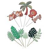 jojofuny 2 Juegos de Hojas Tropicales Pastel Toppers Hoja de Palma Animales Cupcake Toppers para Tema de La Selva Hawaii Fiesta de Cumpleaños Baby Shower Decoración