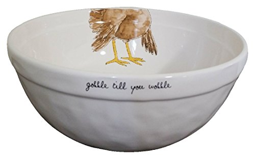 Rae Dunn Thanksgiving Turkey Gobble Till You Wobble Serving/Mixing Bowl