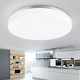 DLLT 20W Led Flush Mount Ceiling Lighting Fixture, Modern Round Close to Ceiling Lights IP44 6000K Daylight White for Bathroom, Hallway, Kitchen, Balcony, Laundry Room, 10in, 1650Lm