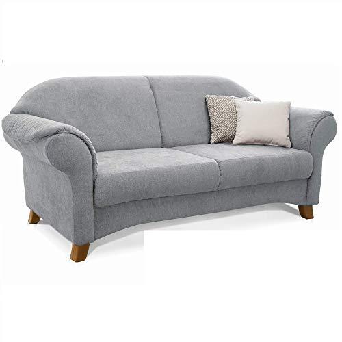 Cavadore 3-Sitzer Sofa Maifayr mit Federkern / Kleine Couch im Landhausstil mit Holzfüßen / 194 x 90 x 90 / Hellgrau