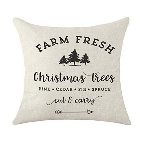 SLS Farm Fresh Christmas Trees Cotton Linen Decorative Throw Pillow Case Cushion Cover Lion Piillow case 18' X18 Throw Pillow Cover (4)