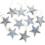 Logbuch-Verlag 10 estrellas colgantes de Navidad gris jaspeado Shabby Chic Vintage de madera colgante de Navidad regalo
