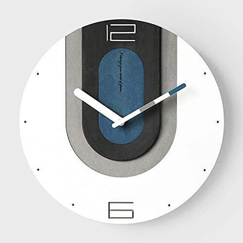 Reloj de Pared Redondo 12 Pulgadas, Estilo Nórdico, Funciona con Pilas, Silencioso, No Hace Tictac, Decorativo para Cocina Hogar Sala Estar Granja Dormitorios,Azul