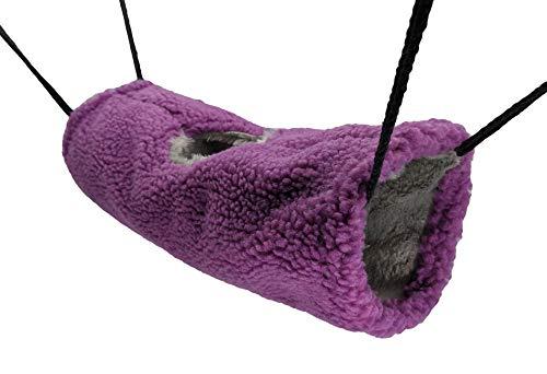 N\A PAWSINSIDE - Hamaca colgante de hondón cálido de forro polar para uso en jaula, color morado