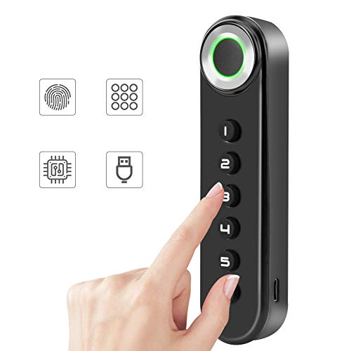 Biometrischer Elektronisches Türschloss, Digital Codeschloss, Kombinationsschloss, Batteriebetriebene Halbleiterschublade Schloss, USB-Anschluss-Schwarz