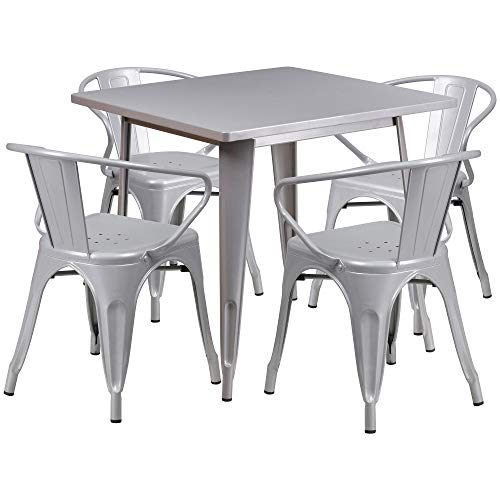 F&F Furniture Group Set of 5 Silver Square Metal Indoor-Outdoor Table with Arm Chair 31.5''