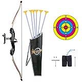 BOROK Juego de Arco y Flecha, Kit de Deportes de Tiro al Aire Libre con Flechas y Objetivo para Niños