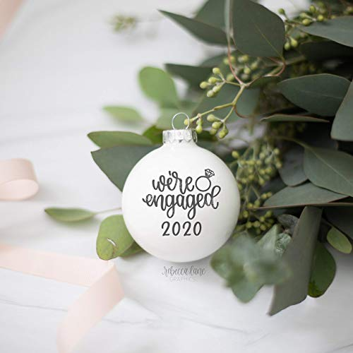 None-brands Xmas Tree Ornamnets We're Engaged 2020 I Said Yes Engagement Announcement Custom Glass Mr and Mrs Christmas Hanging Ornaments Xmas Ball