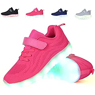 adituob Breathable LED Light up Shoes Luminous Flashing Sneakers for Boys Girls(Toddler/Little Kid/Big Kid) Rosered35