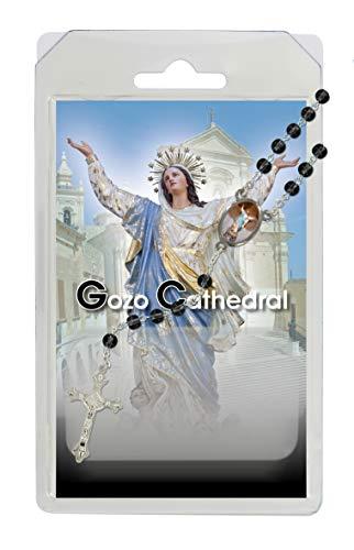 Rosario de la Virgen María de la catedral de Goz, de semicristal negro con oración en inglés