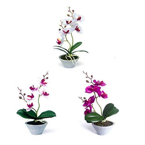 Unishop Set de 3 Macetas de Orquídeas Artificiales de Colores, Ramos de Flores Artificiales, Flores para Decorar Interior, Plantas Decorativas Falsas para Hogar (27.5)