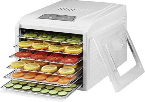 Saro VeggyDry, essiccatore per frutta e verdura, deidratatore, essiccatore, essiccatore, essiccatore, villatore, regolatore di temperatura, display a LED, timer, 6 griglie senza BPA, bianco