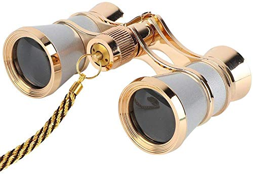 Opera Glasses Binoculars 3X25 Theater Glasses Mini Binocular Compact Lightweight with Handle for Adults Kids Women in Musical Concert (Black with Chain) (Sliver with Chain)