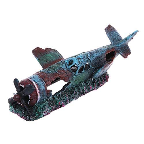 ECMQS Handgefertigt Harz Schiff Schiffbruch Handwerk, Aquarium Kreative Kämpfer Flugzeug Fisch Garnelen Hide Cave Spielzeug Ornamente Landschaft