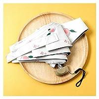 8リブミニ傘防風防止抗紫外線保護5弾傘ポータブルトラベル雨レイン女性傘ポケット子供傘 (Color : White 5 Folding)