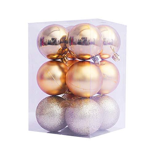 litty089 12-delig/set glanzende kleurrijke bal kersthangend decor voor kerstboom, met opbergdoos, geschikt voor festival huisfeestje winkelcentrum goud