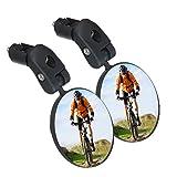 SGODDE Fahrradspiegel, 2 Stücke Fahrradrad-Rückspiegel, sicherer Rückspiegel, Verstellbarer konvexer Kunststoffspiegel am Lenker für Mountainbik -Fahrräder