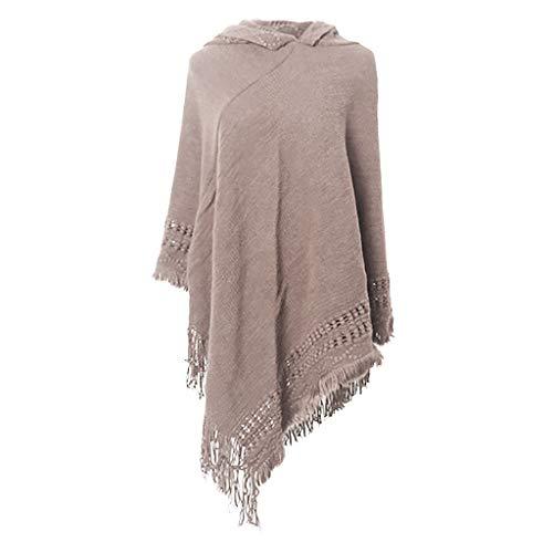 LoveLeiter Damen Kapuzen Poncho mit Häkelborde, Cape für Frauen aus Strickmaterial mit Zierfransen Gemütlicher Warmer Pullover Umhang Decke Schal Cape