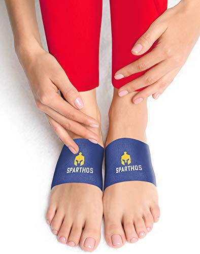 Sparthos Arch Support Brace - Plantar Fasciitis Support Brace - Foot Feet Brace, Ankle Pain Relief, Night Splint - Achilles Tendon Massager Flat Heel Wrap - for Men and Women (Blue-M)