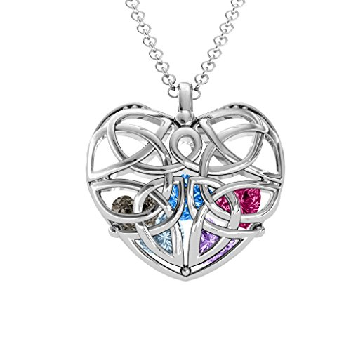 Sterling Silver Celtic Trinity Knot Caged Heart Pendant with Personalized Birthstones by JEWLR