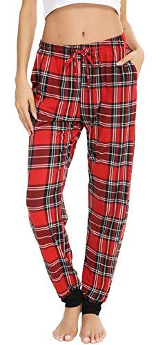 Vlazom Women Pajama Pants Plaid Lounge Pant Knit Sleep Bottoms Drawstring Jogger Pant with Pockets