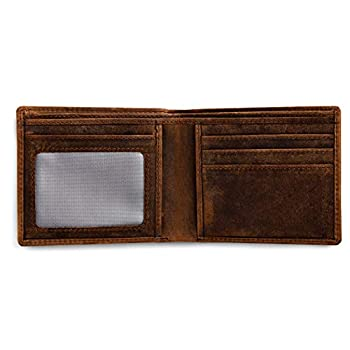 Rugged Authority Brown Mens Leather Bifold Wallet with RFID Blocking Theft Protection 5 card wallet slots & ID Window Slim minimalist distressed leather wallets for men.