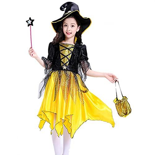 YWLINK Disfraz de Bruja Niña Vestido Tutú Princesa Brillantes Estrellas con Sombrero Bolsa de Dulces Varita Traje Reina Oscuridad para Halloween Fiesta Carnaval