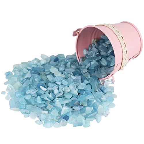 Nupuyai - Piedras preciosas para decoración (460 g), Aguamarina, azul