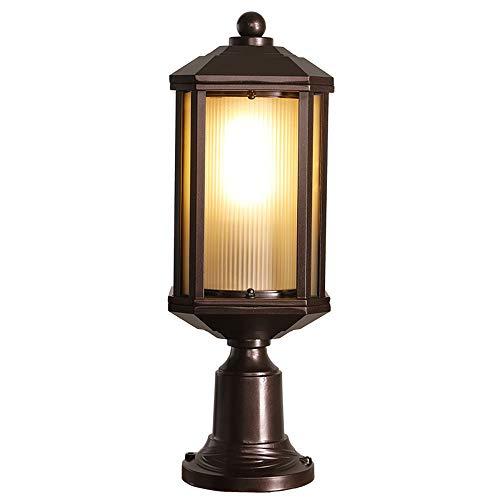 Luminaire Pour Socle D'extérieur Étanche Brun Fonte D'aluminium Et De Verre Chemin De Lampe De Balcon Eclairage De Terrasse Jardin Pilier Lampe De Borne Lumière Stand Lantern 17 * 13 * 45 Cm