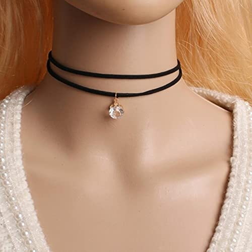 New Gothic Punk Harajuku Black Velvet Suede Lace Crystal Triangle Circle Choker Necklace For Women Jewelry Multilayers