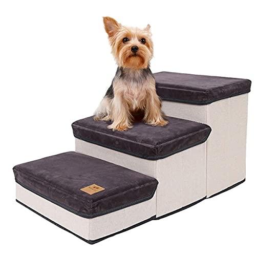 Haustiertreppe,Katzentreppe Faltbar,3-Stufen-Aufbewahrungsstil Hundetreppe Pet Stair,Hunderampe Tragbar Tiertreppe für Hunde und Katzen, Kleine und Große Hunde,Bett und Couch,Laden Sie 25 kg (Grau)