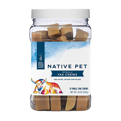 Native Pet Yak Chews for Dogs (Bulk Size - 15 Small Chews) - Pasture-Raised and Organic Himalayan Churpi Chew. Long Lasting, Low Odor, and Protein Rich Reward Treat.