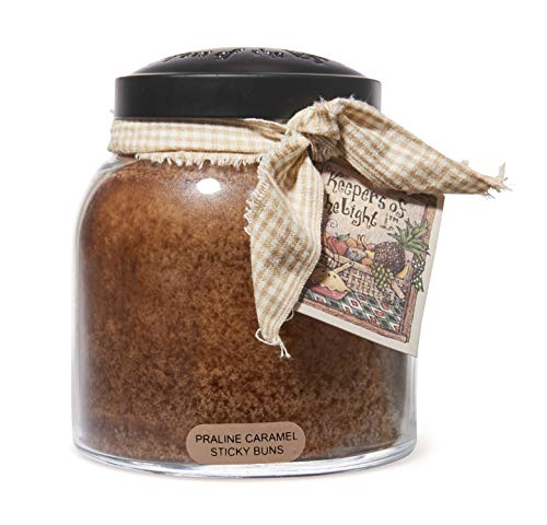 A Cheerful Giver - Praline Caramel Sticky Buns Papa Scented Glass Jar Candle (34oz) with Lid & True to Life Fragrance Made in USA