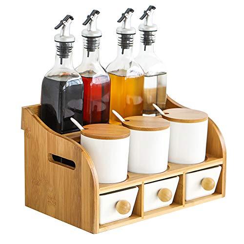 JANSUDY Keuken Keramische Kruidenpot Effen kruiden Fles Olie Pot Set voor het opslaan van Olie/Azijn/Peper/Komijn Poeder/Zout/Suiker