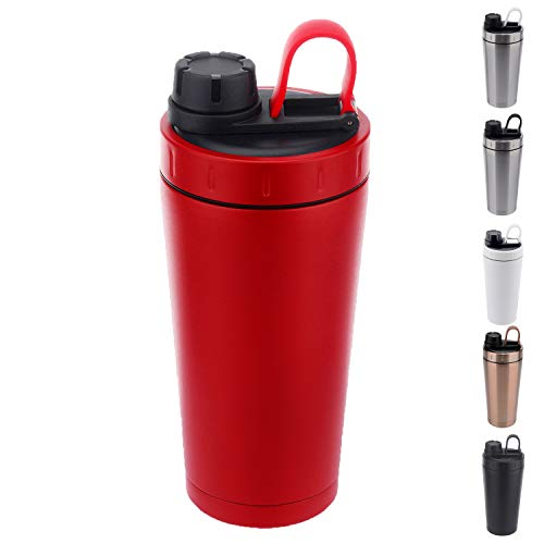 Stainless Steel Protein Shaker Bottle Insulated Keeps Hot/Cold Dishwasher Safe/Double Wall/Odor Resistant/Sweatproof/Leakproof/BPA Free 20 oz (Red)