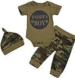 Crystallly Baby Strampler Mit Camouflage Muster Und Lange Hose Mutze 0 Einfacher Stil Ndash:24 Monate Basic Bequem Young Kuschelig Kinder Fashion Kleidung (Color : Daddys Boy, Einheitsgröße : 92)