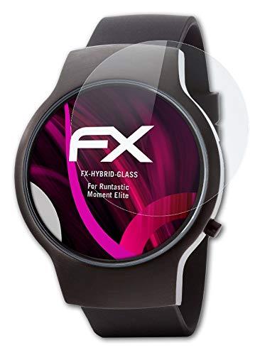 atFoliX Glasfolie kompatibel mit Runtastic Moment Elite Panzerfolie, 9H Hybrid-Glass FX Schutzpanzer Folie