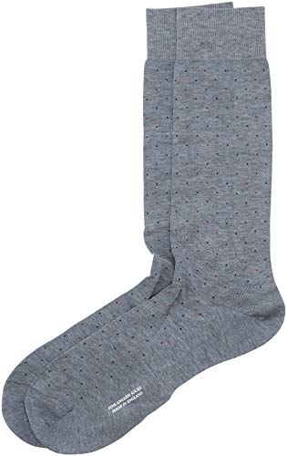 Pantherella Men's Mid Calf Regent Two Color Pin Dot Dress Socks, Denim Mix, Medium