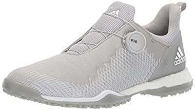 adidas Women's FORGEFIBER BOA Golf Shoe, Grey Two/FTWR White/Silver Metallic, 7.5 M US