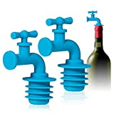Wine Bottle Stoppers, 2-Pack Silicone Wine Stoppers for Wine Bottles, Water Faucet, Blue