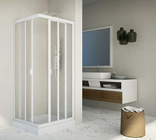 Box doccia scorrevole in acrilico e pvc bianco h.185cm due lati angolare LUCY (80x120cm)