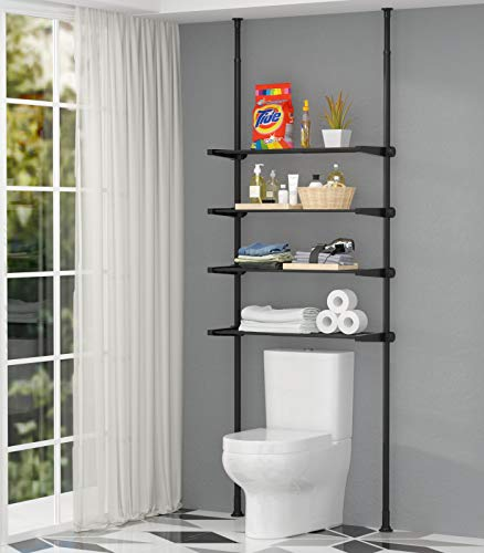 ALLZONE 4 Tier Over Commode Shelving, Over The Toilet Storage Rack, No Drilling, Easy to Assemble, Pole Height 92-116 Inch, White